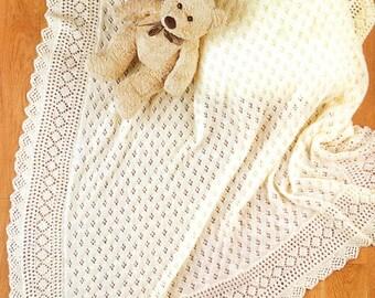 Christening  Shawl /Baby shawls/ Baby Christening gift/ Instant PDF Digital Download Vintage Knitting Pattern- 964