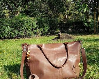 Brown  Genuine leather  bag.Tote genuine leather  brown bag.Handmade brown bag.Shoulder bag.Woman Genuine Leather Handbag .