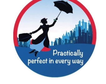 Mary Poppins Inspired Button - Practically Perfect in Every Way Pin - Mary Poppins Badge - Theme Park Button - Disney Trip Button