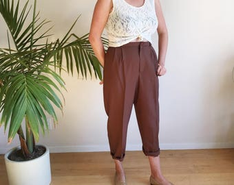 Vintage 90s Trousers | 1990s High Waisted Pant | Chocolate Brown Pleated 80s 90s Pants