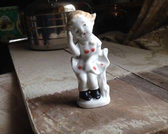 Cute vintage little girl figurine post war Japan.