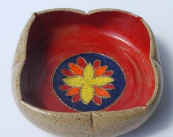Lotus Bowl with Painted Slip Design