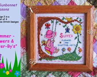 """SWEET SUNBONNET SEASONS-design 2 of a set of 4 - """"Summer-Flowers & Flutter-By's"""" cross stitch chart graph pattern"""