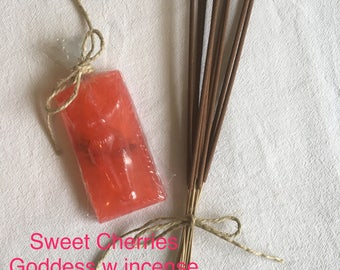 Sweet Cherries Cloaking Goddess Soap and Incense Set