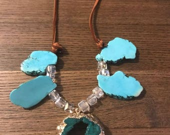 Teal Druzy and Leather Necklace