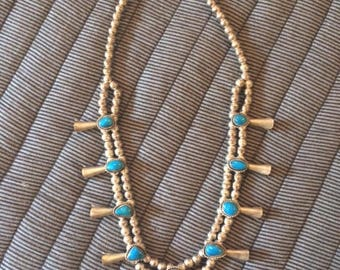 Vintage navajo squash blossom turquoise necklace
