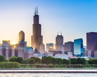 Chicago Skyline at Sunset, Sears Tower, City Photography Print