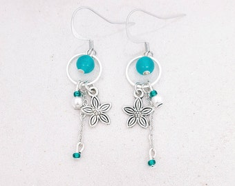Flower - turquoise Jade - Silver earrings