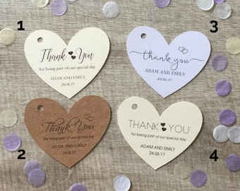 10 Personalised Wedding Favour Heart Shaped Thank You Tags