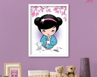 """PRINT POSTER decor baby girl """"Baby chick"""" purple pink blue Kawaii KOKESHI"""