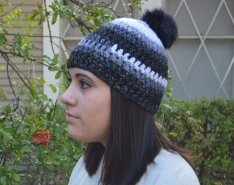 Sparkly Pom Pom Winter Beanie