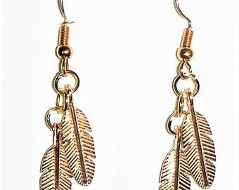 Cute Gold Toned French Hook Earings with Double Leaf Drops