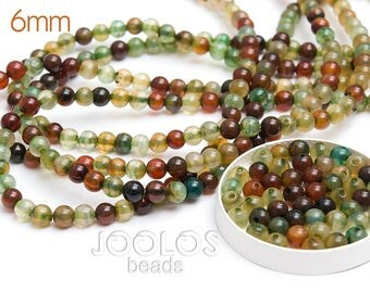 Mixed color beads 6mm Dragon Vein Agate beads Multicolor agate Jewelry beads Green agate beads Smooth beads / 20 beads About 10-12 cm