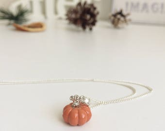 Adorable 3D/Double-Sided Pumpkin Enamel Necklace - Halloween/Autumn/Fall - Handmade Silver Tone Necklace