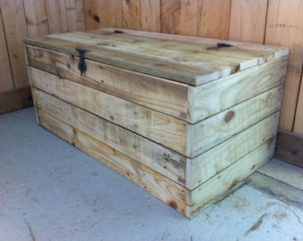 Pallet Wood Chest with Rustic Ironwork