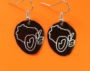Big O Wisconsin Beer Earrings Made of Recycled Bottle Caps