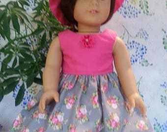American Girl Doll-Pink and Gray Floral Dress with Hat