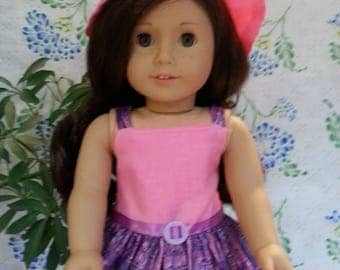 """Pink and Purple Dress with Hat for 18"""" and American Girl Dolls"""