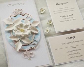 Handmade Wedding Invitations, blue wedding invitation, flower wedding invitation (DL2PI)