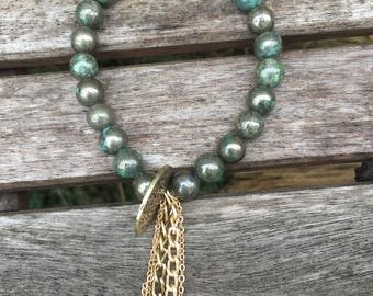 Turquoise Pyrite beaded bracelet