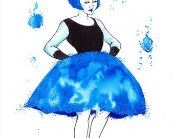 Original - woman blue skirt - Inktober 2016