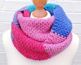 Pink and Blue Winter Infinity Scarf - Circle Crochet Knit Scarf - Caron Cakes Mixed Berry - Colorful Cowl Ladies Children Winter Accessories