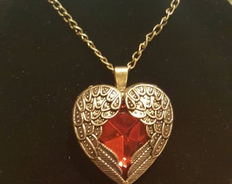 Winged heart pendant necklace