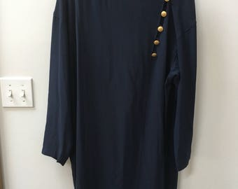 Vintage dress // Liz Claiborne // navy blue // gold buttons // long-sleeve