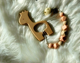 Giraffe Teether and Pacifier Clip