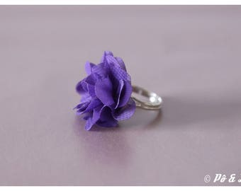 Chiffon flower ring purple & silver #0929
