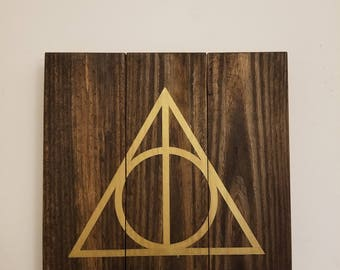 Harry Potter - Deathly Hallows - wood art - wall hanging