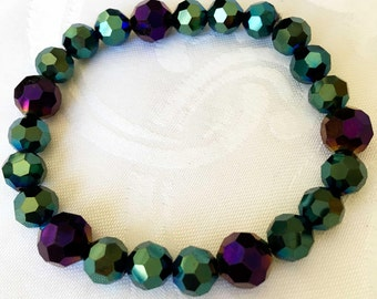 Mermaid bracelet green and purple stretch bracelet