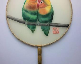 Hand-painted silk fan, love birds