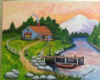 """Painting """"Cabin by the River"""""""