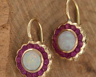 14 kt yellow gold earrings. with Circular gold Pendants with rubies, opals and Opal and Ruby, Red Hook Earrings with semiprecious stones