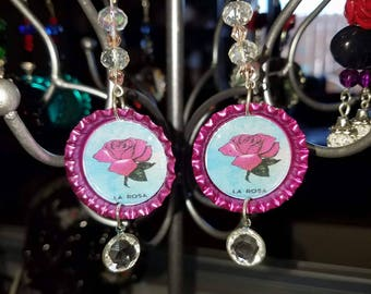 bottlecap earrings, day of the dead, roses,ladies