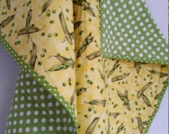 PEAS, Baby Quilt, Handmade, PERSONALIZE, toddler quilt, Peas in a Pod, lightweight, 100% cotton, eat your veggies, whimsical, yellow, green