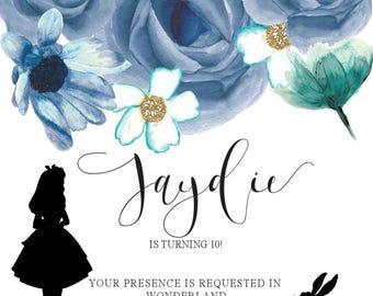 Alice In Wonderland inspired invitation