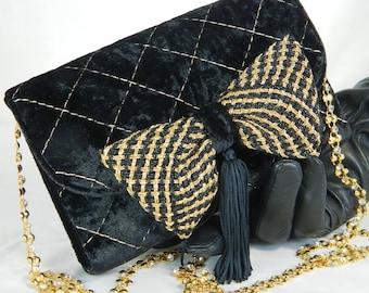 Black Velvet Evening Bag,  Clutch, Evening Purse, Social Bag, Gift for Her