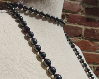 Hematite + Amethyst Napping Necklace - Genuine Gemstones & Pure Silk Thread