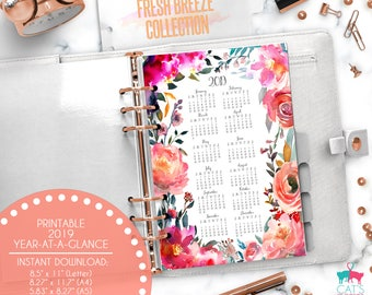 Printable Calendar A5 A4 Letter Watercolor Planners 2019 Year at a Glance | Fresh Breeze Floral Collection | FBCYG19