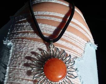 Orange sun necklace