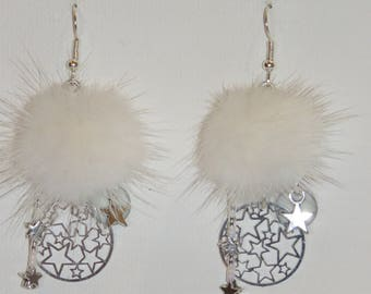 "Stars earrings, prints, fur, miyuki beads, white and made ""earrings Poumpoumpidou"" tassels fine BO"