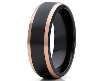 Black Zirconium Wedding Band 14k Rose Gold Black Zirconium Ring Men's Band