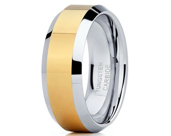 Tungsten Wedding Band Yellow Gold Tungsten Ring Men & Women Tungsten Carbide Ring Anniversary Ring Comfort Fit
