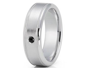 Black Diamond Wedding Band 14k White Gold Men's Ring Milgrain Design Ring Men & Women Matte Finish Wedding Ring