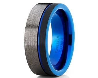 Blue Tungsten Wedding Band Gunmetal Tungsten Ring Men & Women Black Tungsten Ring Grey Wedding  Ring Engagement Ring