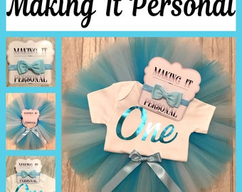 Girls 1st Birthday Cake Smash Outfit Blue Turquoise and White Tutu & Personalised Vest READY 2 POST !!