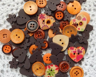 20 Wooden Buttons, Various Shapes, Heart Buttons, Flower Buttons, Cardmaking Buttons, Scrapbooking Buttons, Craft Buttons, Multi Color