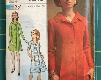 Vintage Sewing Pattern Simplicity Coat Dress from 1967
